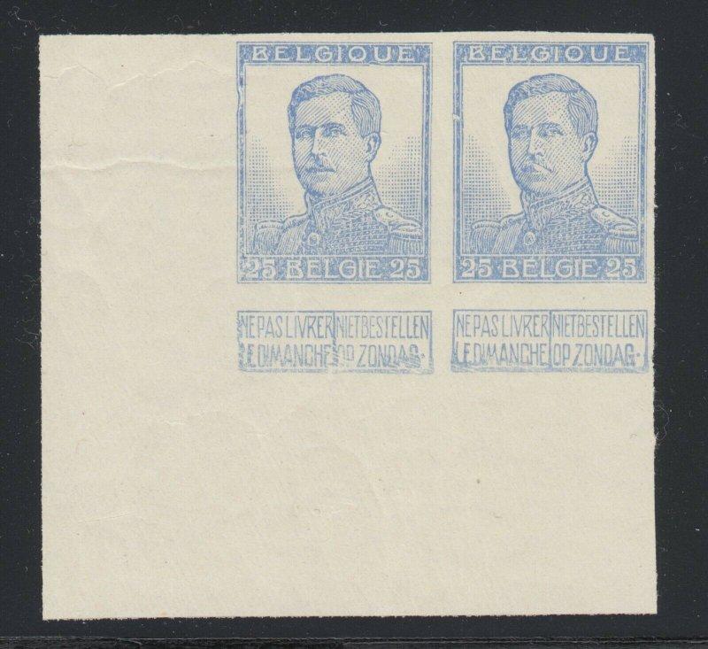 Belgium Sc 105a MNH. 1912 25c King Albert, I ultramarine Trial Color Proof, XF
