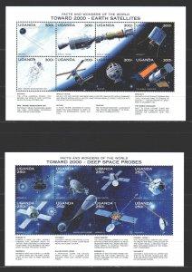 Uganda. 1997. Small sheet 1255-70 bl274-275. Space. MNH.