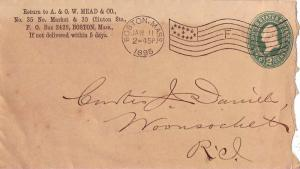 United States Massachusetts Boston, Mass. 1895 American Flag Type D2(F)  Post...