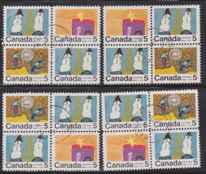 Canada #521, 522 and 523 Christmas - Set of 4 used blocks of 4