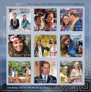 SOLOMON ISLANDS 2013 SHEET ROYALTY PRINCE WILLIAM AND KATE slm13302a