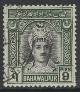 PAKISTAN-BAHAWALPUR SG21 1948 9p BLACK & GREEN USED PERF FAULT