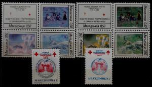 Macedonia MNH lot Red cross,10v,errors