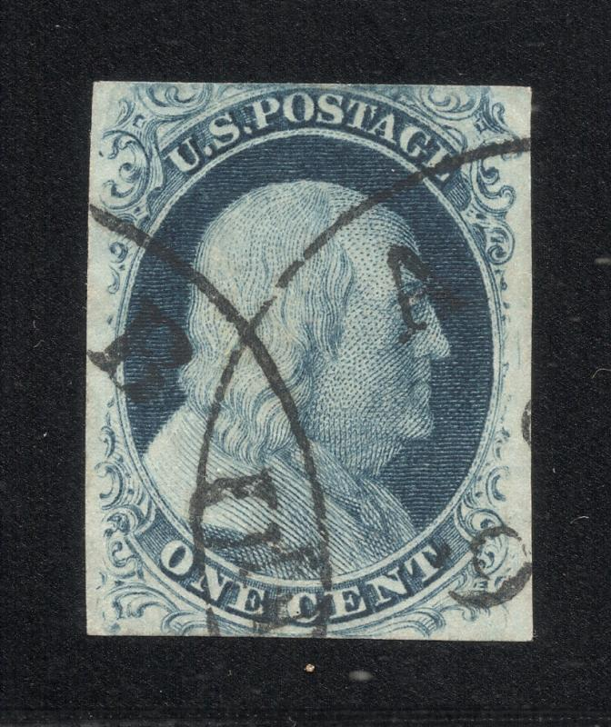 US#7 Blue - Type II - Crossed Town Cancels - Cat.$150.00