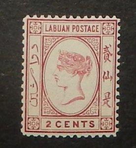 Labuan 33. 1892 2c Rose QV, NH