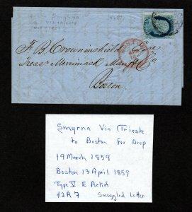 $US Sc#24 rare smuggled letter Smyrna via Trieste Boston drop 1859