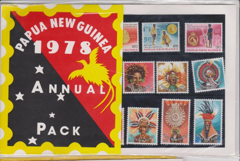 Papua New Guinea 3 Post Office Packs '78 Annual, Butterfly and Arts