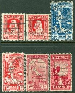 EDW1949SELL : NEW ZEALAND 1929-33 Scott #B1-6 Complete. Very Fine Used. Cat $280