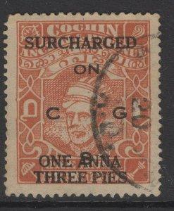 INDIA-COCHIN SGO80 1944 1a3p on 1a BROWN-ORANGE USED