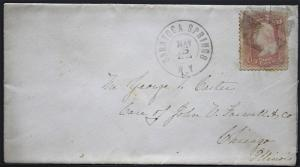 US Cover -  Fancy Cancel Grid on Civil War Era - Saratoga Springs NY 1865  S1149