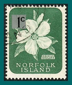 Norfolk Island 1966 Surcharge Hibiscus, 1c thick, used  #71a,SG60a