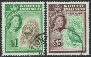 NORTH BORNEO 1961 QEII PICTORIAL $1 AND $5 USED