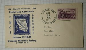 Trans Mississppi YMCA Dubuque IA Philatelic Convention Cachet Cover 1944