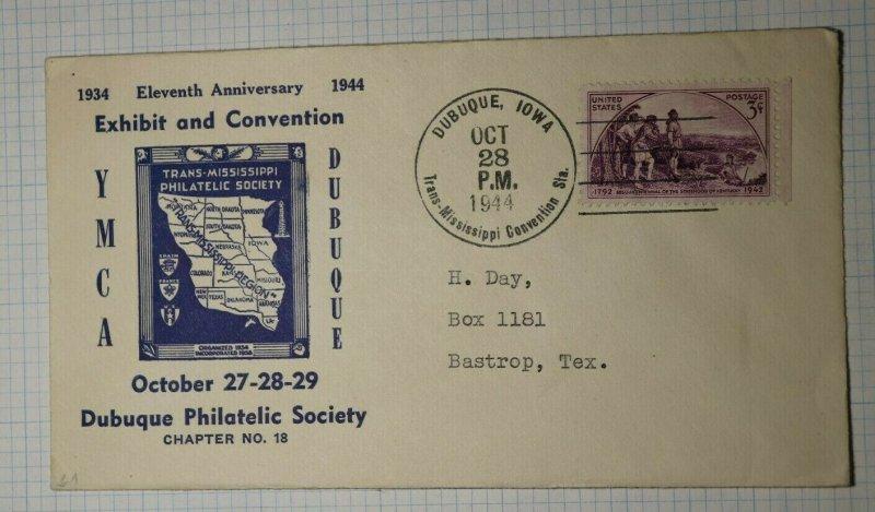 Trans Mississppi YMCA Dubuque IA Philatelic Convention Cachet Cover 1944