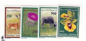 Tunisia, 985-88, Fauna & Flora Singles, MNH