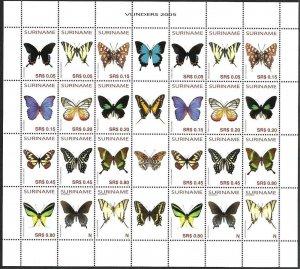 2005 Suriname Butterflies, Papillons, Farfalle complete Souvenir Sheet VFMNH!