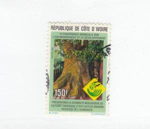 IVORY COAST # 929j VF-LIGHT USED 150f TREE CAT VALUE $70