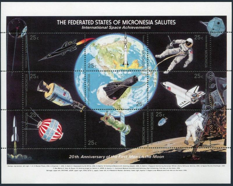 Micronesia 81 sheet,MNH.Michel 132-140. International Space Achievements 1989.