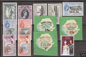 Sierra Leone Sc 180/446 MLH. 1938-78 issues, 13 different better singles, fresh