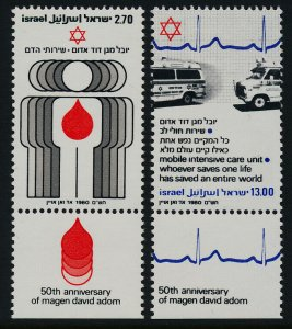 Israel 748-9a + Tab MNH Medicine, Ambulance, Magen David Adom