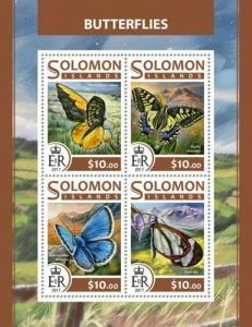 Solomon Islands - 2017 Butterflies - 4 Stamp Sheet - SLM17224a