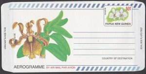 PAPUA NEW GUINEA 1990 50t Orchid aerogramme unused..........................L469