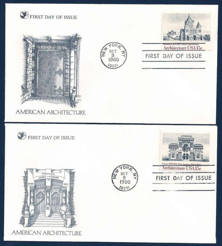 UNITED STATES FDCs (4) 15¢ Architecture 1980 Readers Digest