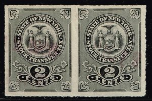 US TAX STAMP STATE OF NEW YORK STOCK TRANSFER 2C STAMP BLACK PAIR