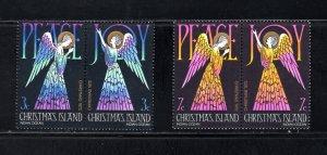 Christmas Island 56a,58a,  Pairs, VF, Unused, Peace & Joy, CV $2.75 .... 1370021
