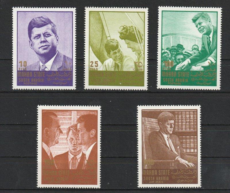 Mahira State South Arabia MNH 16A 18A 21-2A 24A John F. Kennedy