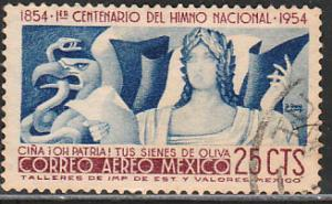 MEXICO C224, CENTENARY OF THE NATIONAL ANTHEM. SINGLE.USED. F-VF (1063)