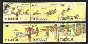 Tokelau Food Gathering 2 strips 6v SG#171-176 SC#163-164