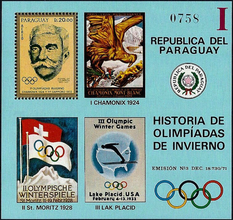 1972 Paraguay History of the Olympic Games, Coubertin, Sheet VF/MNH! CAT 23$