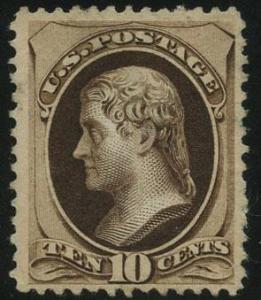 US Scott #188 Mint, VF, No Gum, APS, Black-brown shade
