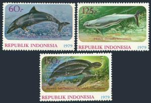 Indonesia 1064-1066,1066a sheet,MNH.Michel 944-946,Bl,31. Dolphins,Turtle,1979.
