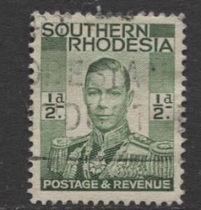 Southern Rhodesia- Scott 42 - KGVI - Definitive -1937 - FU- Single 1/2d Stamp