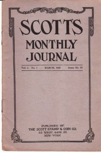 Scott's Monthly Journal March 1923 Stamp Collecting Magazine