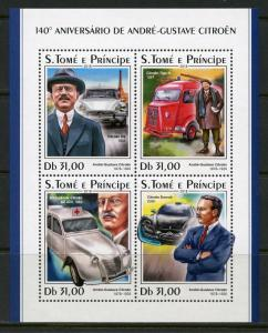 SAO TOME 2018  140th BIRTH ANNIVERSARY OF ANDRE GUSTAVE CITROEN  SHEET MINT NH