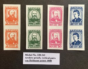 Latvia Proof Stamp Pairs 1936 very scarce MNH VF/XF