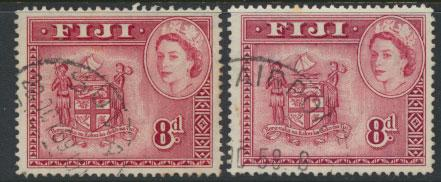Fiji SG 288 Dp Carmine Red & SG 288a Carmine Lake - Used