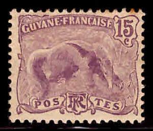 French Guiana Scott 59 anteater MH* stamp expect similar centering