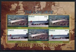 St Kitts 2007 MNH Concorde Around the World 6v M/S Airports Aviation Stamps