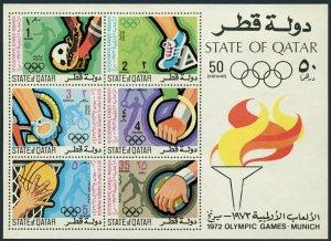 Qatar 308a,hinged.Michel Bl.24. Olympics Munich-1972. Soccer, Basketball, Discus