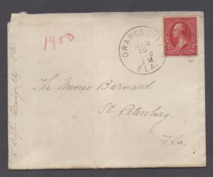 **US 20th Century Cover, Orange City, FL, 3/15/1900 To St. Petersburg, FL