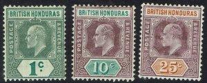 BRITISH HONDURAS 1904 KEVII 1C 10C AND 25C WMK MULTI CROWN CA