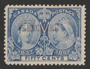 CANADA 1897 QV Jubilee 50c pale ultramarine, SPECIMEN.