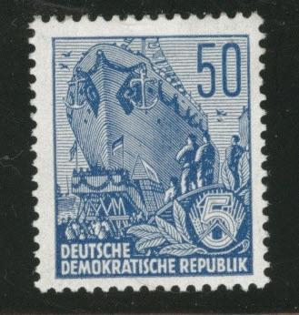German DDR  Scott 337 MH* perf 14 1957-8 ship stamp