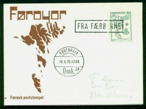 FAROE ISLANDS 1975 Boxed FRA FAEROERNE ties 50aur on card to Denmark, VF