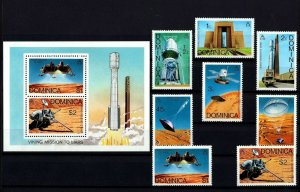 DOMINICA - 1976 - SPACE - VIKING - MISSION TO MARS - TITAN + MNH SET + S/SHEET!