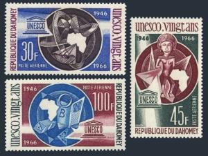 Dahomey C43-45,C45a,MNH.Michel 290-292,Bl.6. UNESCO,1966.Science,Art,Education.